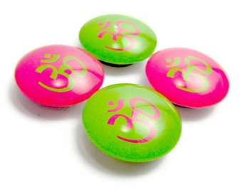 Om Magnet Glass Fridge Magnet Set of 4 Hot Pink and Green