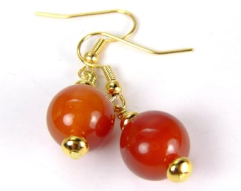 Red Fire Agate Earrings, Root Chakra Protection Earrings