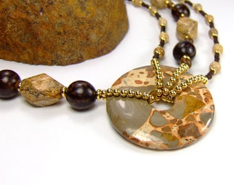 Chunky Statement Necklace, Picture Jasper Safair Jasper Chakra Balancing Necklace