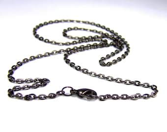 Gunmetal Oval Link Chain custom length Gunmetal Oval Link Necklace