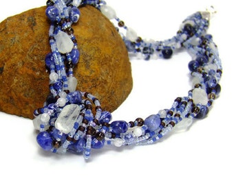 Blue Gemstone Necklace, Moonstone Necklace, Sodalite Necklace, Chakra Necklace
