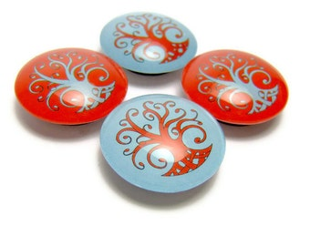 Tree of Life Magnet Glass Fridge Magnet Set of 4 Aqua and Tangerine