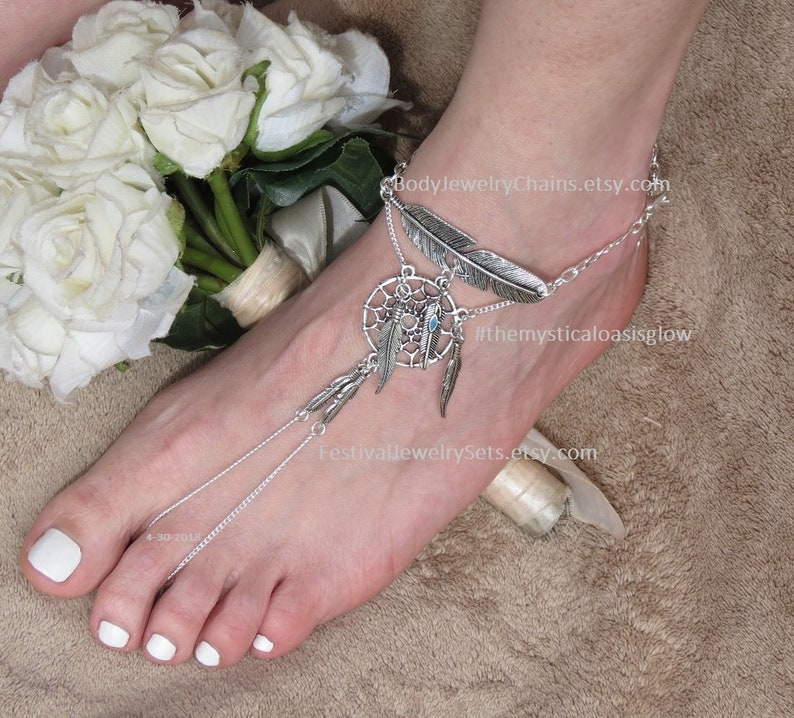 d5d525780e396 Foot jewelry barefoot sandals, ethnic ANKLET, shiny silver ankle bracelet,  dream catcher slave anklet, Tribal anklet, toe ring women gift