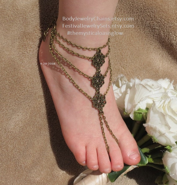 4ee9dfebe0ec1a Chain barefoot sandal foot jewelry beach wedding barefoot