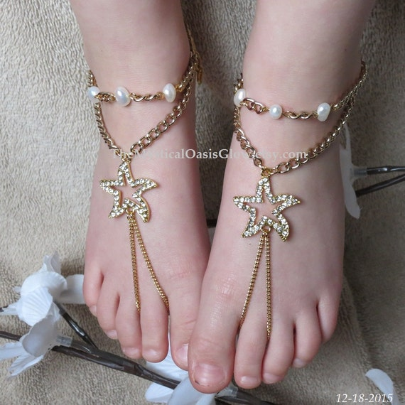 Feet Beach Wedding brass Barefoot Foot Barefoot Gold Jewelry Jewelry Beach RHINESTONE Hippie Bling Gold Starfish Wedding plated Sandals Foot qU1ggR6w