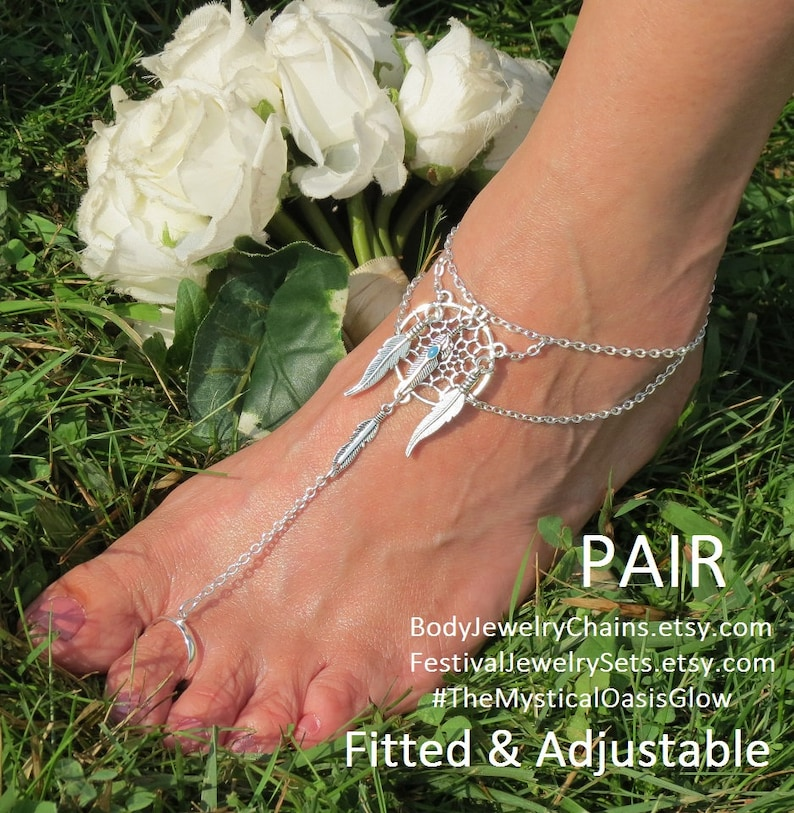 807f6b6857f1f DreamCatcher Sandal foot jewelry Barefoot Sandals Feather Jewelry barefoot  hippie shoes ethnic~Tribal~Boho flip flop slave anklets jewellery