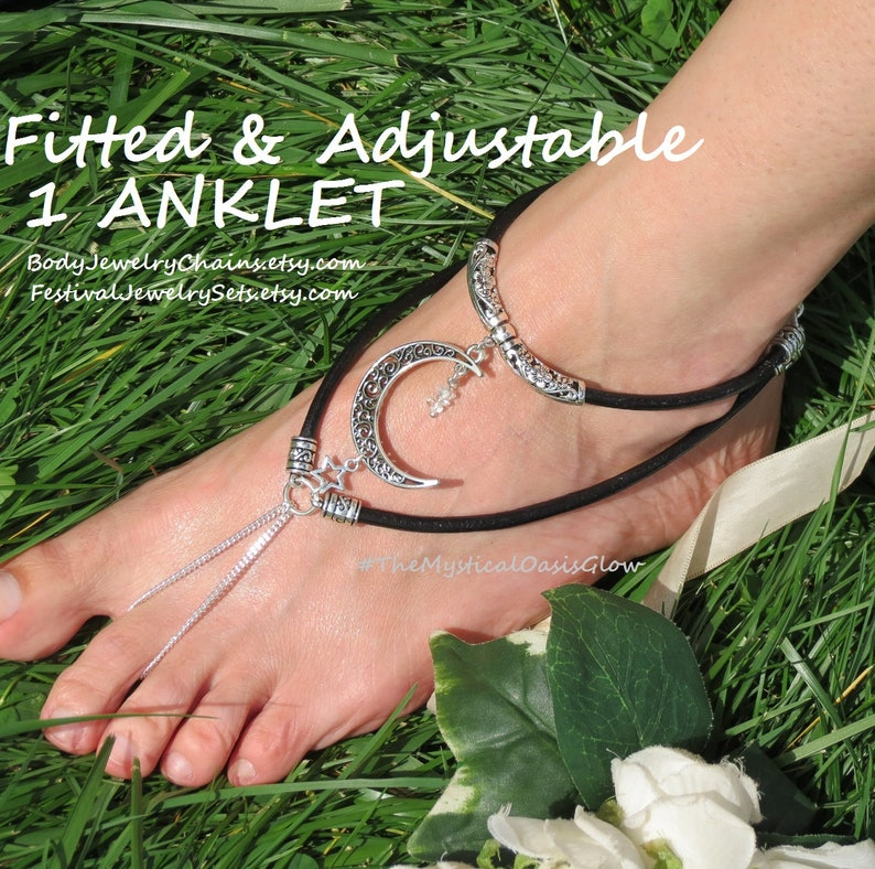 Crescent Moon Barefoot Sandals black leather Moon Jewelry /& soldered curb chain anklet foot jewelry w Herkimer diamonds Tibetan silver