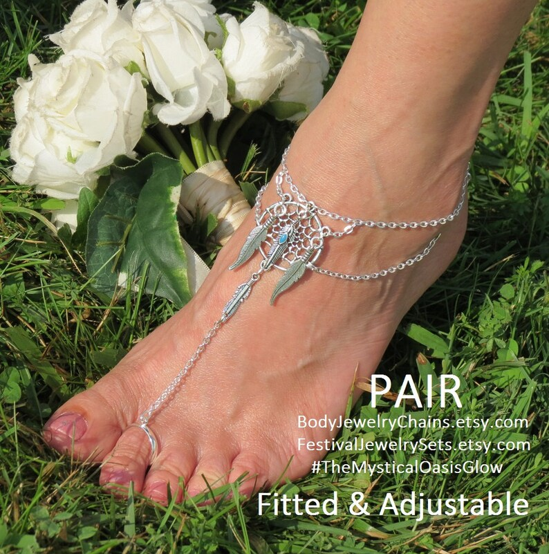 DreamCatcher Sandal foot jewelry Barefoot Sandals Feather Jewelry barefoot hippie shoes ethnic~Tribal~Boho flip flop slave anklets jewellery