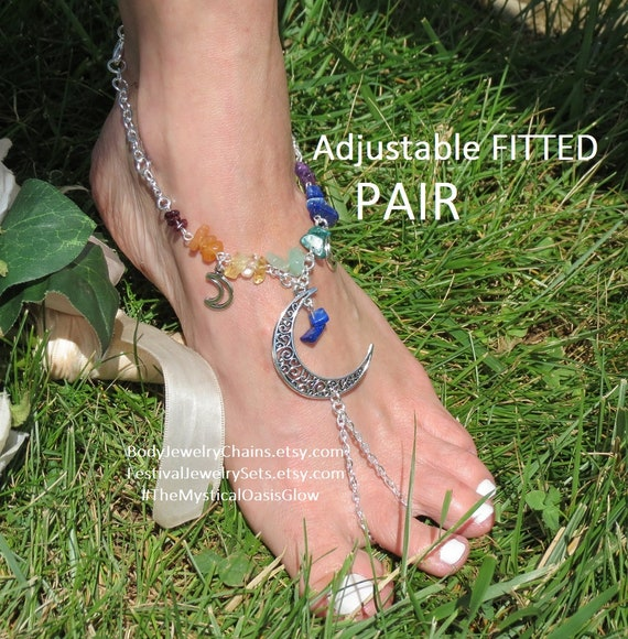ring toe barefoot charm sandals foot Chain gemstone anklets Chakra Jewelry sandals Rainbow stone bracelet Moon chakra anklets beach wUxaZp4Y