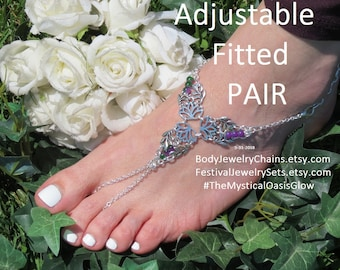 Lilly barefoot sandals foot jewelry, beaded chain anklet, wedding anklet toe ring ankle bracelet, silver slave anklet, toe ring adjustable