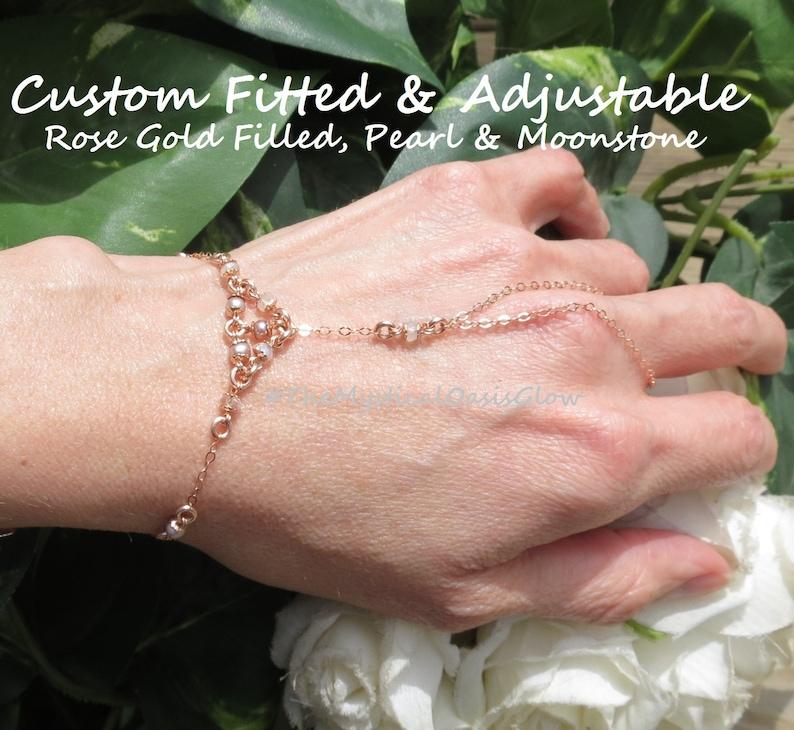 14k Gold filled bracelet hand jewelry chain slave bracelets Rose Gold filled non tarnish wedding glove w Lavender pearl /& moonstone bridal