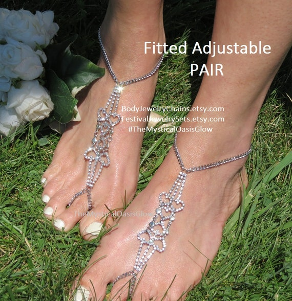 Rhinestone foot Rhinestone anklet jewelry chain sandals sandals ring anklet set toe foot barefoot bridal jewelry anklet Crystal beach rqSxfgrn