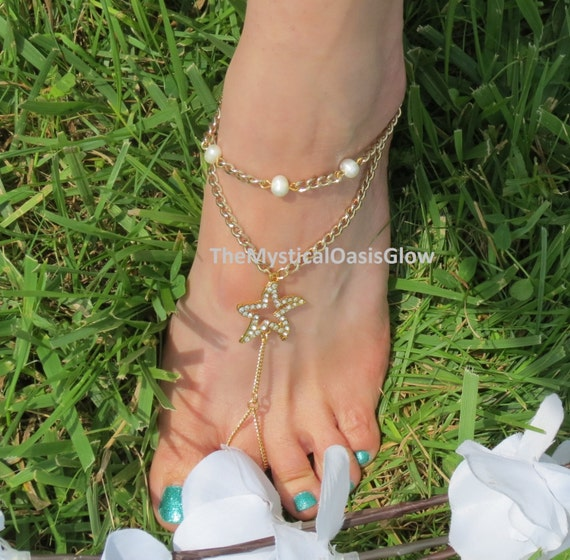 2pcs foot brass jewelry Gold Wedding ring Barefoot plated Starfish w Barefoot and Sandals sandals Rhinestones wedding Pearls Beach rRZqr