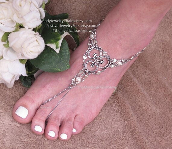 silver sandals barefoot 2pc jewelry sandals hearts wedding ankle beaded sandals charms silver bracelet wedding w foot Ivory beach barefoot 8PqtZcrOwq