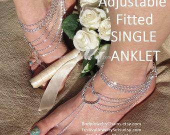 Heart silver foot jewelry beach wedding barefoot sandal, barefoot beach wedding shoes, chain barefoot sandals, wedding barefoot jewelry