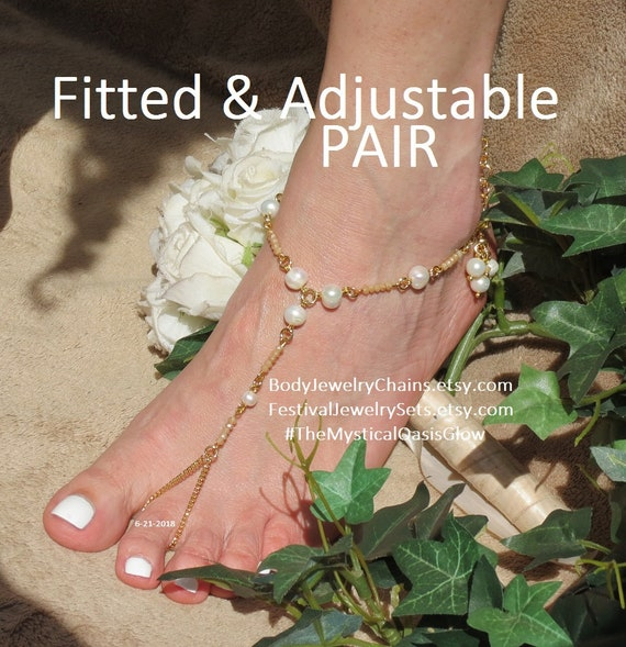 brass jewelry gold ring Barefoot toe Gold Pearl slave curb champagne pearl Sandals gold anklets Jewelry foot Crystal soldered plated chain qq8HO
