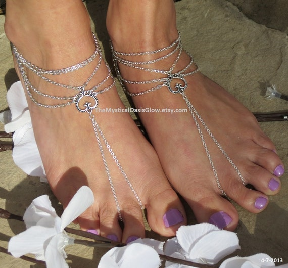 sandals barefoot wedding anklets sandals sandals slave Multiple heart wedding chain foot jewelry PAIR FITTED chain barefoot beach 64xZwqOCf