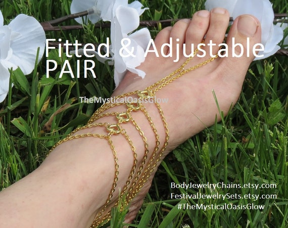 anklets beach sandals sandal barefoot slave gold jewelry PAIR foot barefoot wedding barefoot Chain FITTED shoes beach jewelry wedding xw07nqaSF