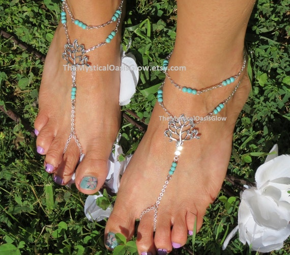 Foot Accessories Jewelry Beach Wedding Tree PAIR Accessories Ankle Sandals Bracelet Jewelry Turquoise Beach of Tree Life Jewelry Barefoot y7UwH4Uq