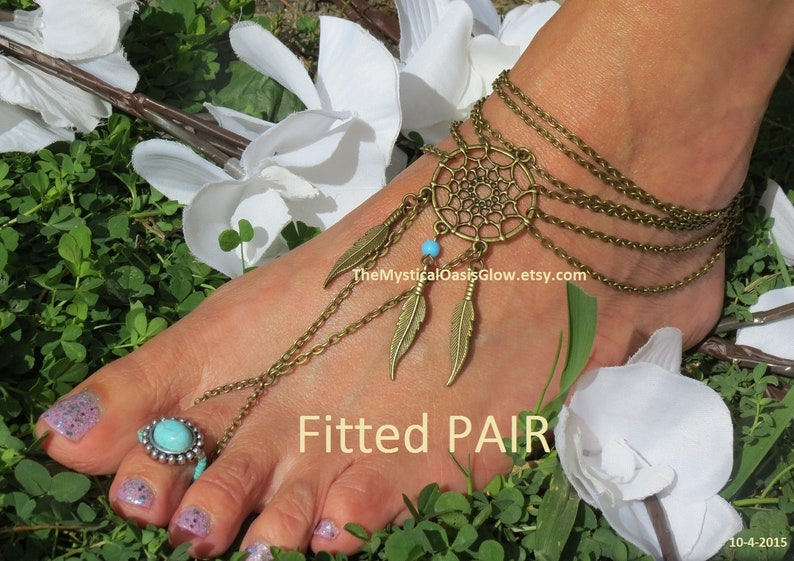 a777d14bc48a3 Tribal unity barefoot sandals, boho wedding anklet beach barefoot sandles  wedding foot jewelry dream catcher feather anklet nickel free