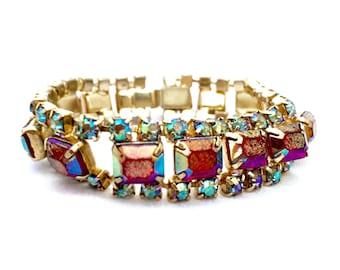 Vintage Light Siam AB Sapphire AB Crystals Link Bracelet