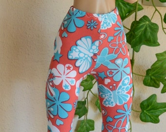 Stretchy Leggings (capri length) in colors of watermelon, blue and white for your SD size BJD