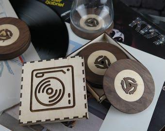 Ensemble de 6 sous-verres - Édition disque vinyle 45 tours - Disque microsillon