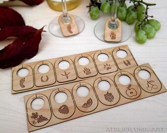 Marque-verres, Ensemble de 6 marque-coupes pour verre à vin, Marque-coupes en bois