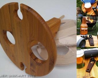 Rack'N'Fun - Support extérieur portatif pour le vin et la bière - Table de camping pour bouteilles et verres