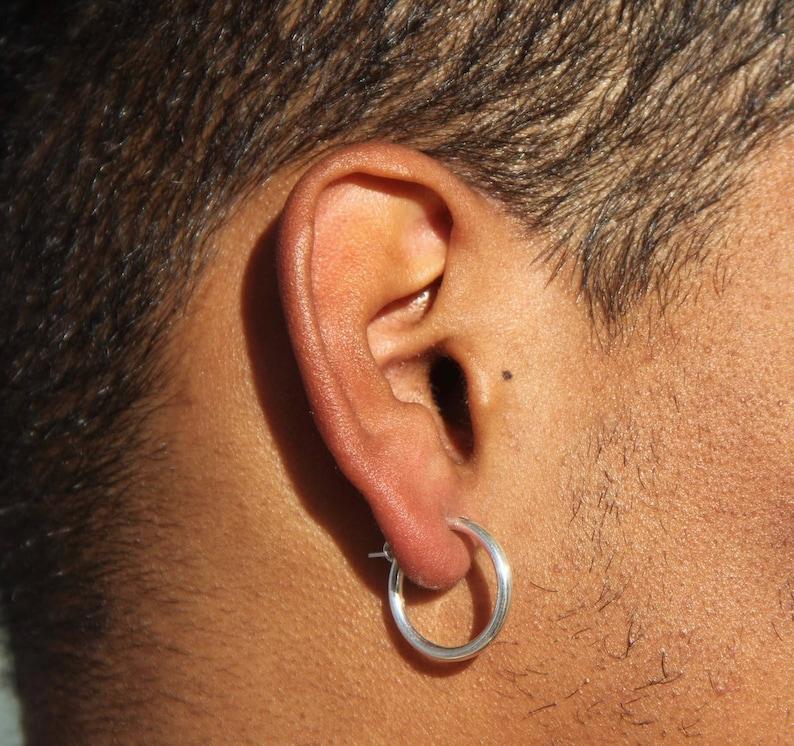 7ea2ef78e44bf Men Earrings-Men Silver Earrings Hoop Earrings-Silver Hoop   Etsy