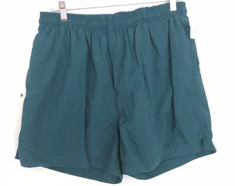 db8826c2b9 Large | vintage 80's hunter green above the knee men's swim trunks #8155
