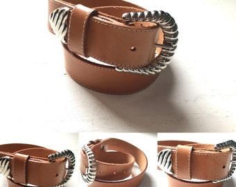 ae1edbae60b Vintage 90 s Nude Leather Belt with Silver tone Buckle size 27-32