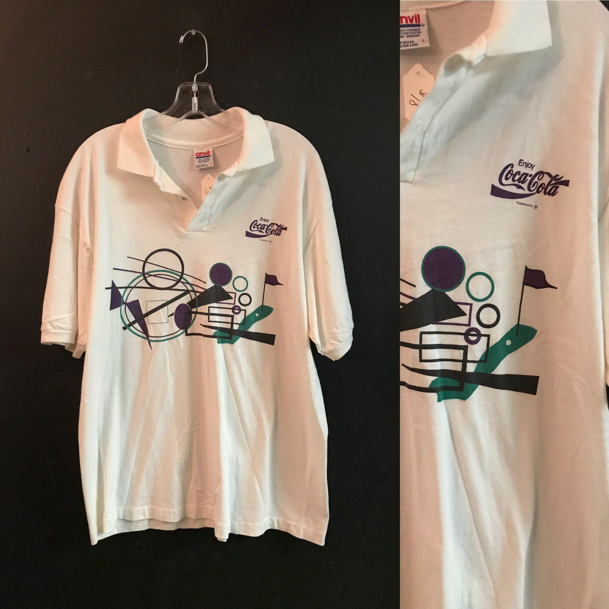 Vintage 80's Coca Cola White Graphic Polo Dad shirt mens size large listing  7437