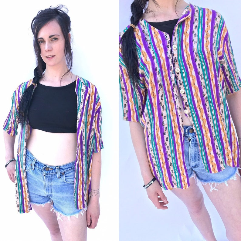 Vintage 80/'s Mix print Oversized button down blouse listing 8130