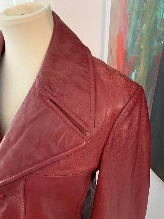 Small | medium vintage 70's Brown Leather Blazer … - image 4
