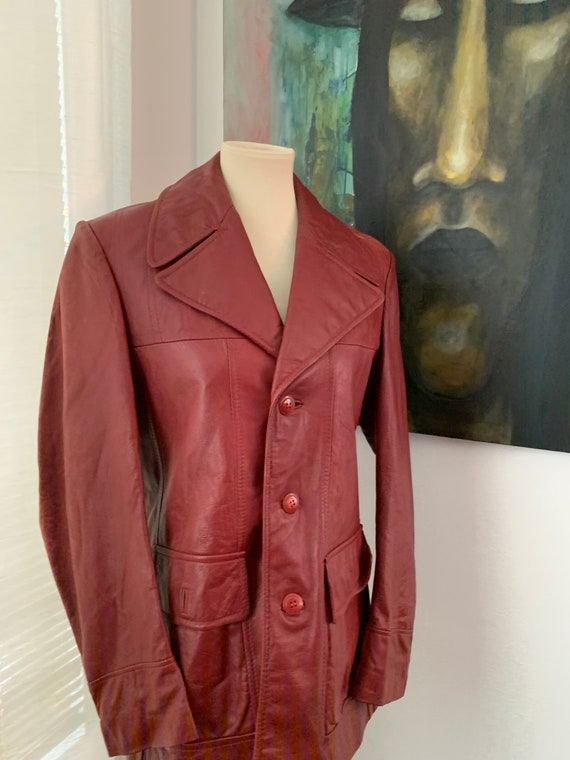 Small | medium vintage 70's Brown Leather Blazer … - image 3