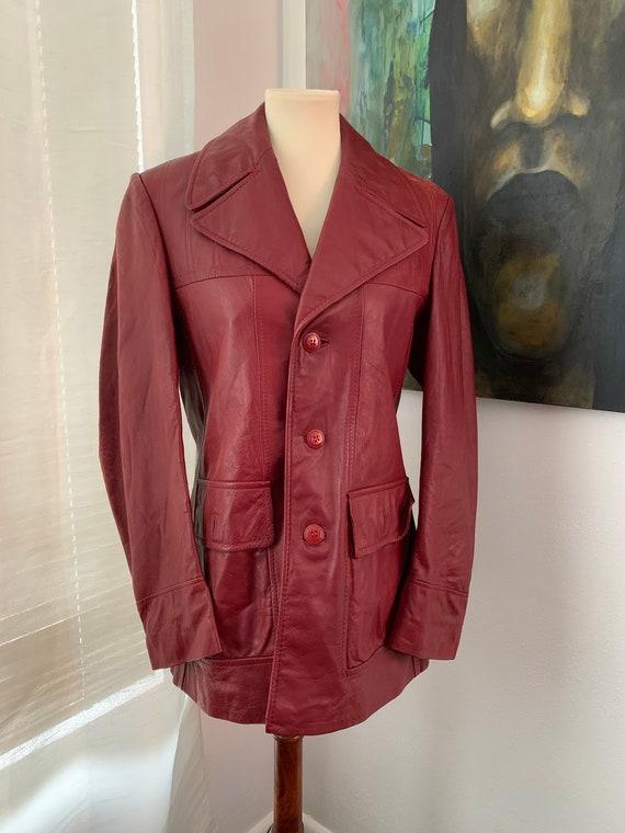 Small | medium vintage 70's Brown Leather Blazer … - image 5