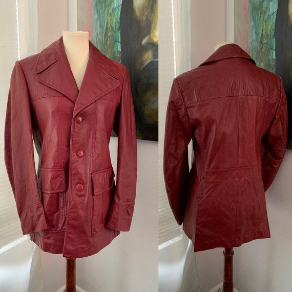 Small | medium vintage 70's Brown Leather Blazer |