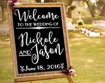 Custom Wedding Decal, Wedding Welcome Sign, Art Deco Wedding Decor, DECAL/Sticker ONLY, 1920 Style Wedding, DIY Bride Craft