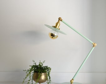 Otto • vintage style articulating boom lamp made with solid brass & powder coated in sea foam green