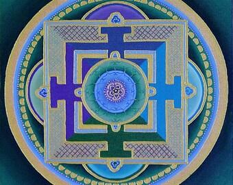 Tibetan Rose Mandala-  archival print on photo paper