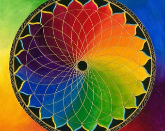 Rainbow Lotus Mandala-   Print on Canvas, embellished
