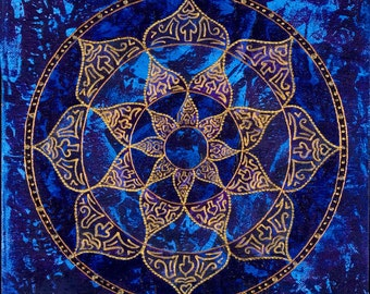 Cosmic Blue Lotus Mandala-  Print on Canvas, embellished