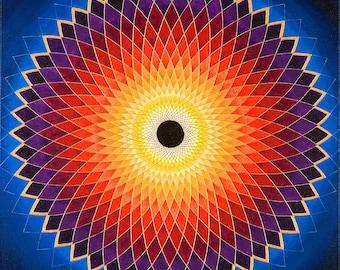 Aussie Sun Mandala-  archival print on photo paper