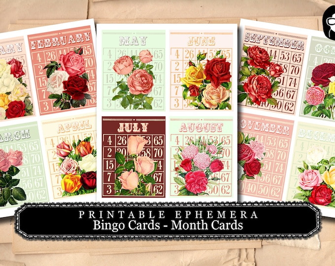 Bingo Cards Flowers - Months - 3 Pg Instant Download - digital roses floral, project life kit, mixed media art kit, junk journal supply