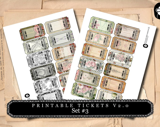 Printable Tickets V.20 - Set #3 - 2 Pg Instant Download
