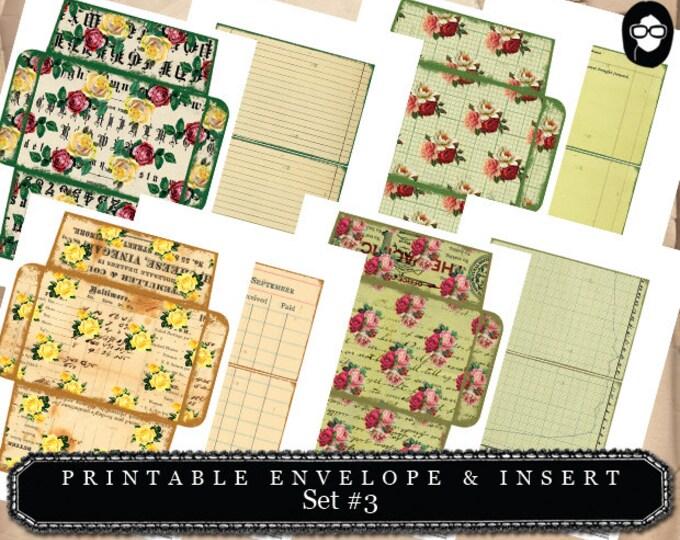 Envelope Template & Insert Set #3 - 8 Page Instant download - digital roses floral, mini envelopes, digital collage, altered art kit