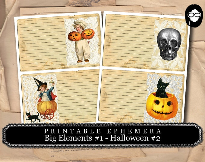 Clip Art Halloween - Big Elements #1 Halloween Set #2 - 2 Page Instant Download - halloween cliparts, spooky digital paper, journaling cards