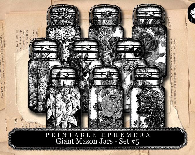 Mason Jar - Giant Mason Jars # 5 - 3 Page Instant Download - mason jar printable, vintage mason jar, blank journal cards, black and white