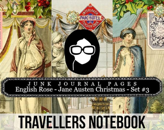 Jane Austen Christmas Travellers Notebook Set #3 - Journal Pages - 3 Printable Pages- travelers notebook, fauxdori insert, midori
